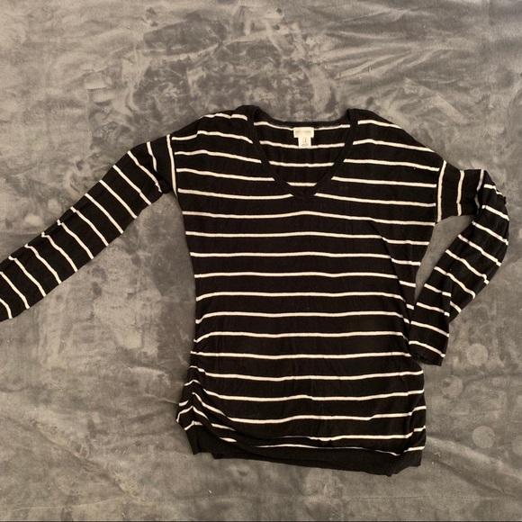 Motherhood Maternity Sweaters - Motherhood maternity black striped v-neck sweater